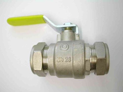 Lever Ball Valve 28mm Compression | Yellow Handle