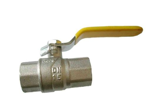 1/2 Inch BSP Lever Ball Valve | FxF | Yellow Handle