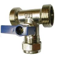 "Dual Appliance Washing Machine Tee Valve | 3/4"" x 3/4"" x 15mm"