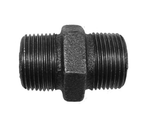 "Black Malleable Iron Hex Nipple 3/4"" BSP"