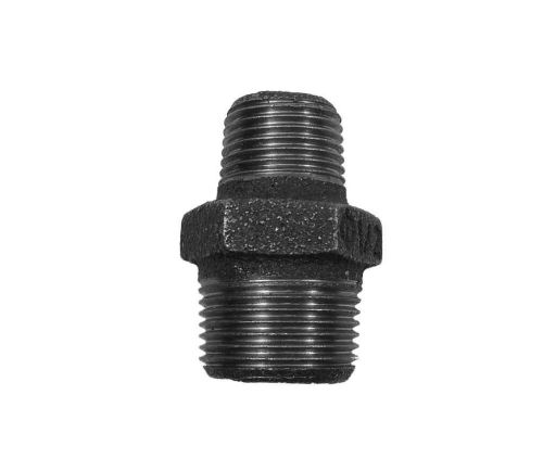 "Black Iron Hex Reducing Nipple 3/4"" to 1/2"" BSP"