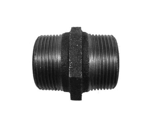 "Black Malleable Iron Hex Nipple 1-1/2"" BSP"