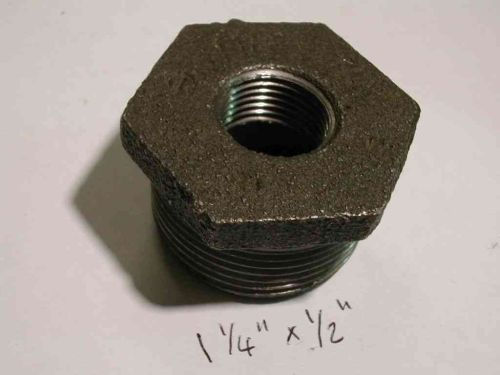 1-1/4 Inch x 1/2 Inch BSP Black Iron Hex Bush