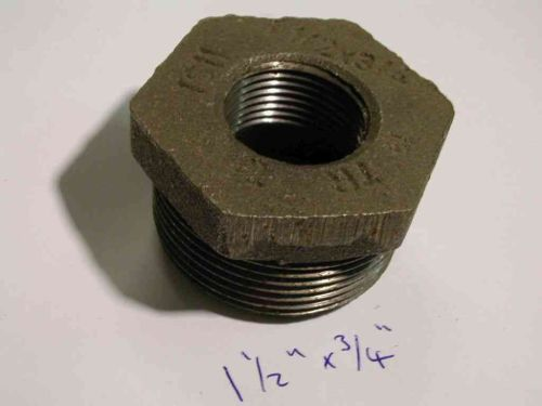 1-1/2 Inch x 3/4 Inch BSP Black Iron Hex Bush