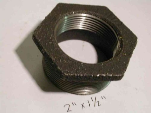 "2"" x 1-1/2"" BSP Black Malleable Iron Hex Reducing Bush"
