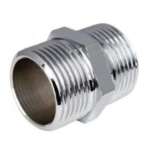 "1/2"" BSP Chrome Hex Nipple | Shower Hose Connector"