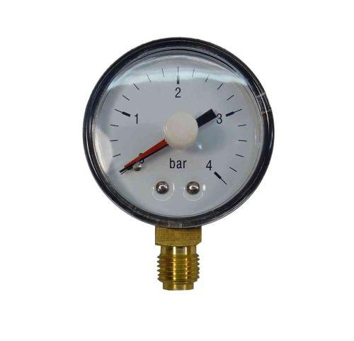 "Pressure Gauge 1/4"" BSP Bottom Connection 4 Bar"