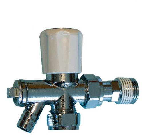 15mm Angled Radiator Valve With Drain Off Cock