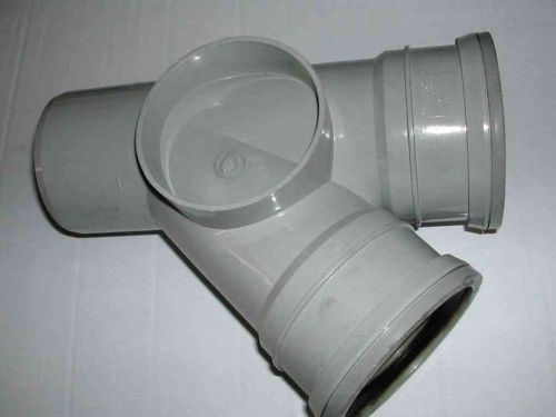 110mm Push Fit 45 Degree Tee Grey