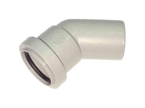 1-1/4 Inch Waste Push-fit 45 MxF Male / Female Elbow Grey