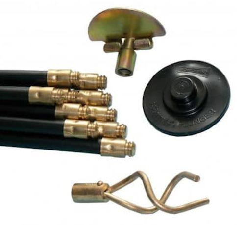 Drain Rod Set | 10 Rods, Plunger, Scraper and Worm Screw
