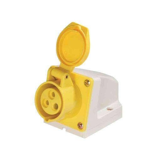 110V 16A Yellow Industrial Wall Socket IP44
