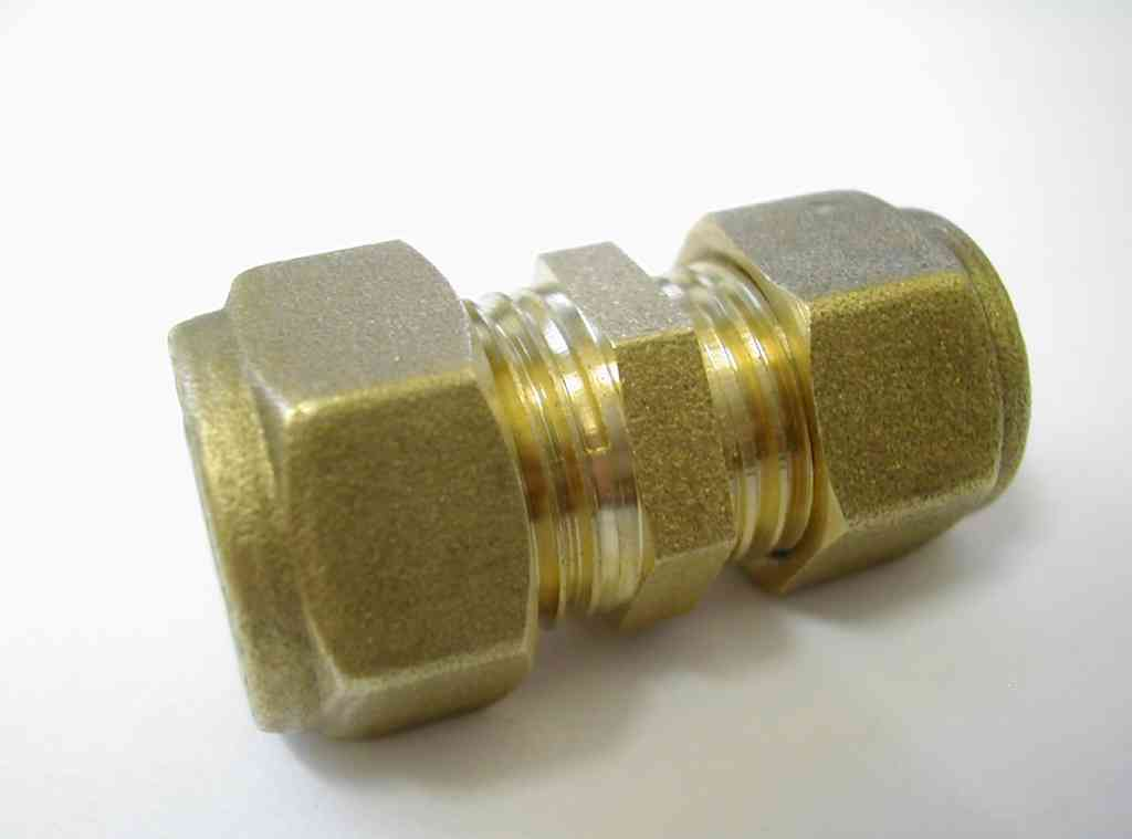 Mm compression reducing coupler brass plumbing