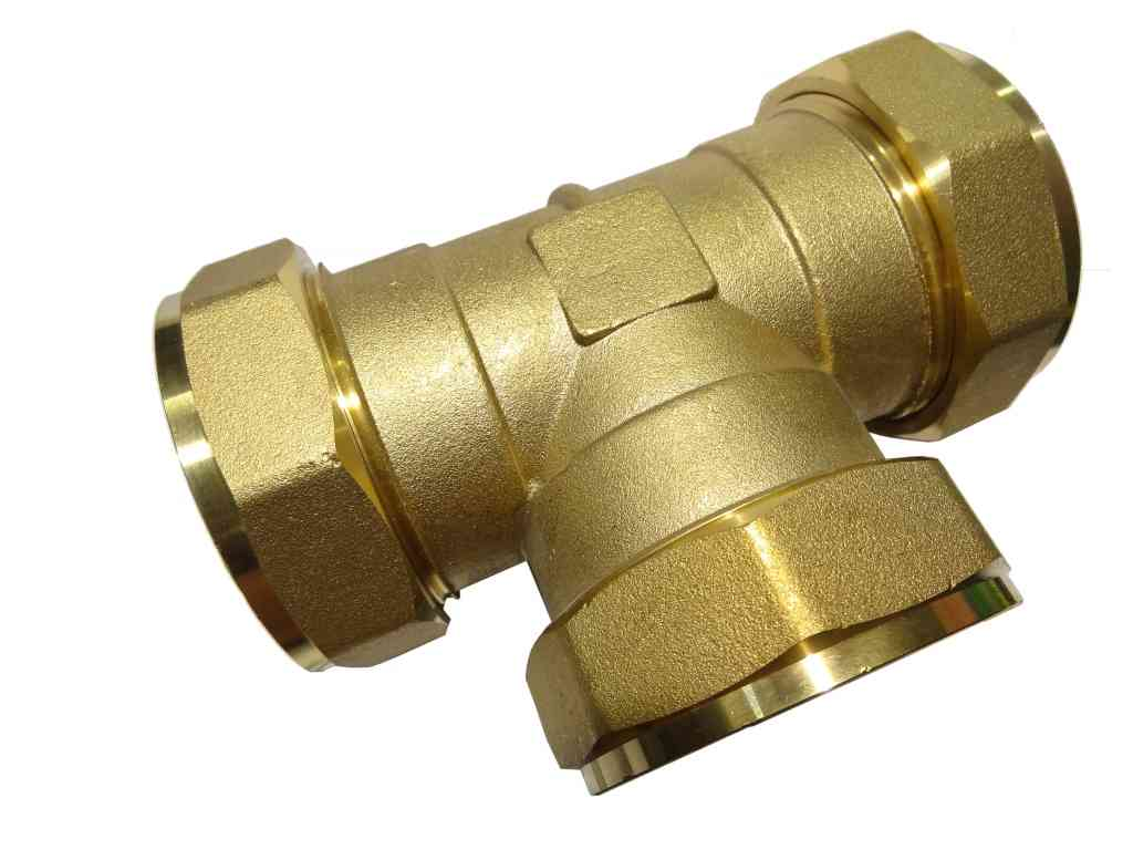 Mm compression equal tee brass plumbing fittting