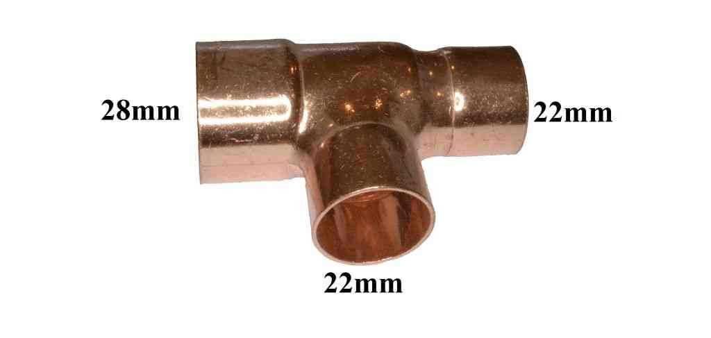 28mm x 22mm x 22mm end feed tee solder plumbing fitting. Black Bedroom Furniture Sets. Home Design Ideas