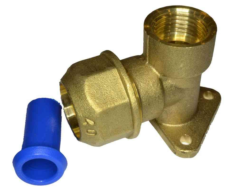 20mm MDPE x 1 2 Inch Brass Wall Plate Elbow With Pipe