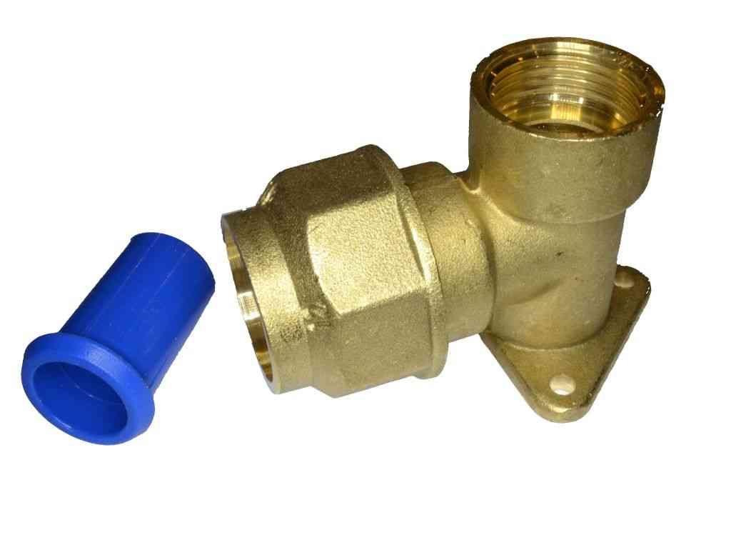 25mm MDPE Brass Wall Plate Elbow With Pipe Liner