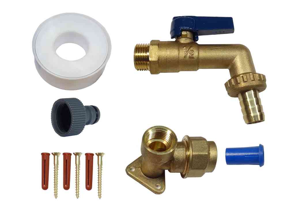 Brass Lever Outside Tap Kit For 20mm MDPE Pipe