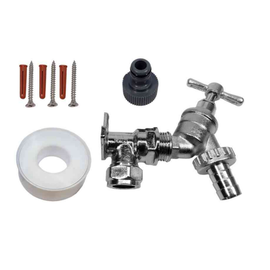Chrome outside tap kit with wall plate elbow accessories