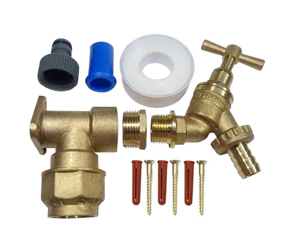 25mm mdpe outside tap kit with brass wall plate and garden