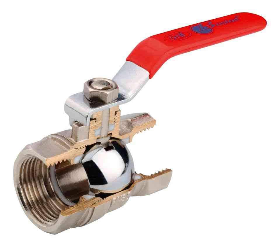Cut away diagram of lever ball valve