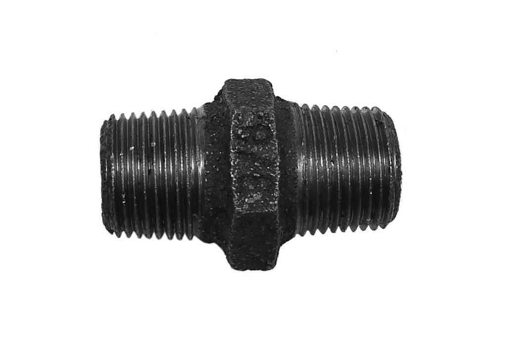 3/8 Inch BSP Black Iron Hex Nipple