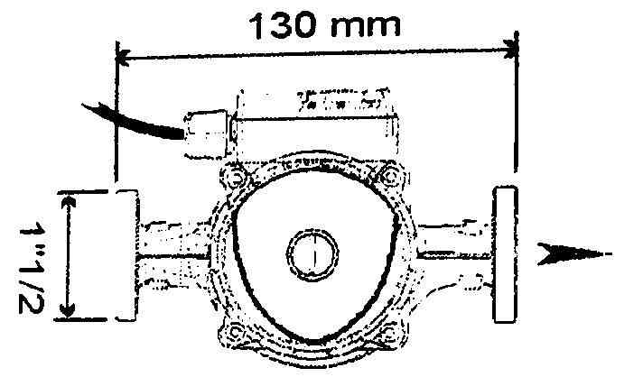 Central heating pump dimensions
