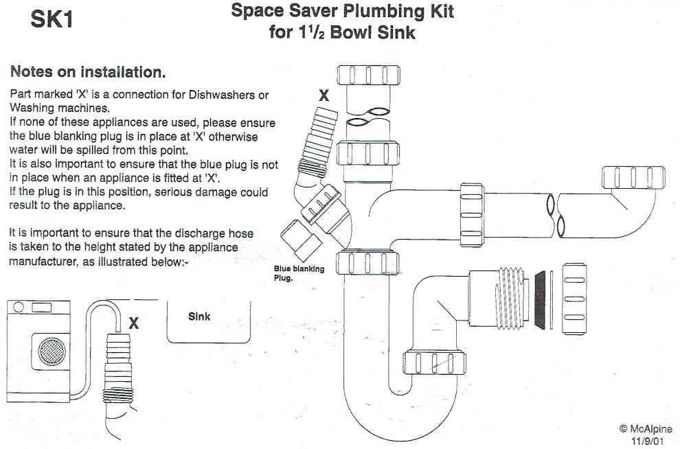 Bowl Amp Half Kitchen Sink Waste Kit Mcalpine Sk1