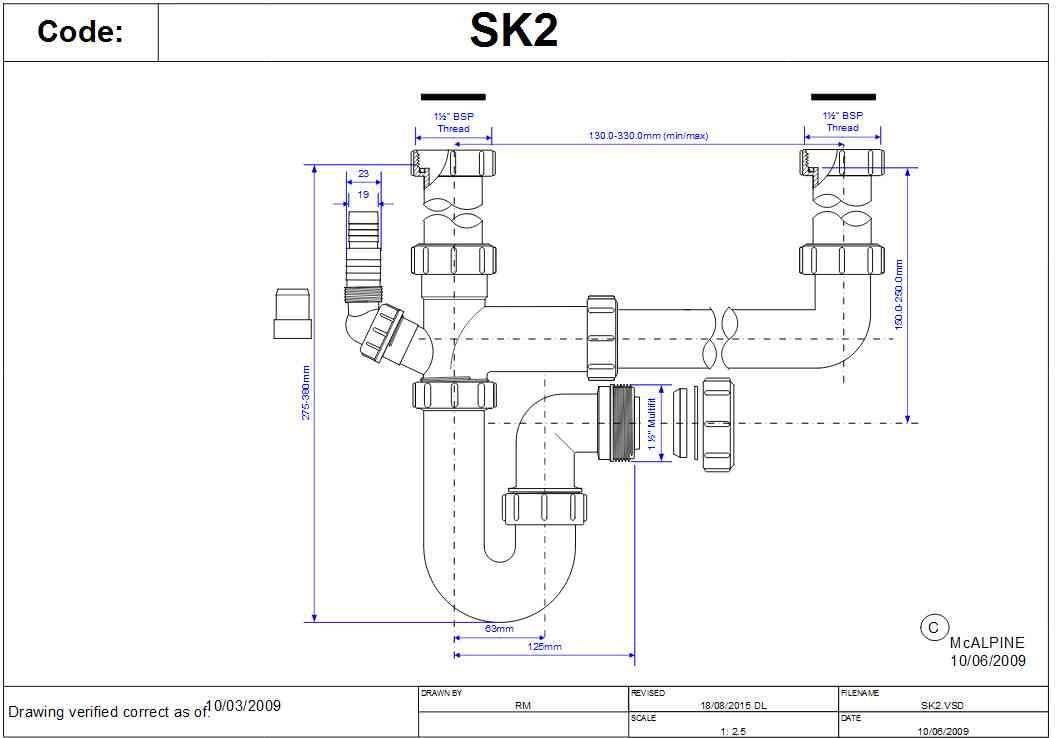 Mcalpine Sk2 Double Bowl Kitchen Sink Plumbing Kit