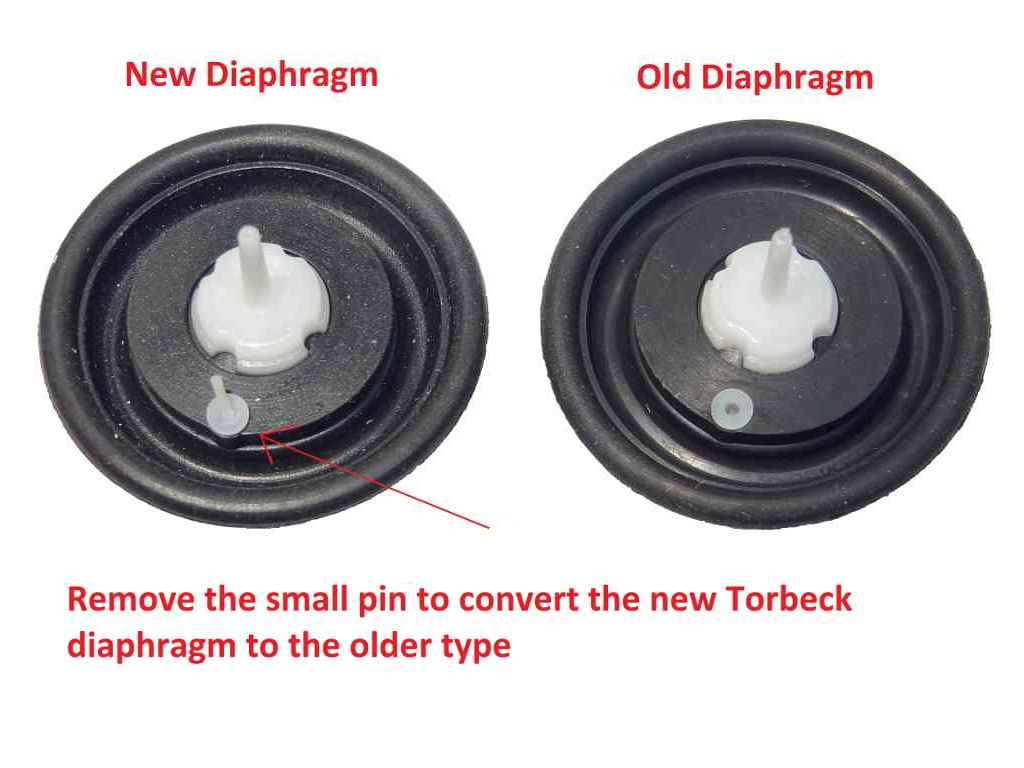 Old and new Torbeck diaphragms side by side